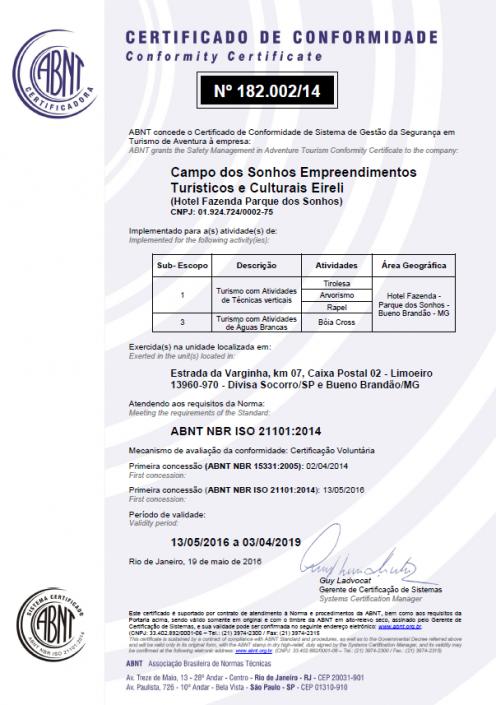 Certificado de conformidade ISO 21101-2014 - turismo com atividades de técnicas verticais e atividades de águas brancas - Parque dos Sonhos - SOCORRO-SP