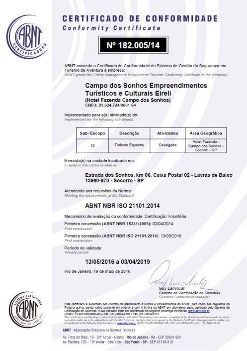 Certificado de conformidade ISO 21101-2014 - turismo equestre - Campo dos Sonhos - SOCORRO-SP