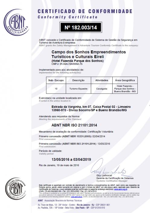 Certificado de conformidade ISO 21101-2014 - turismo equestre - Parque dos Sonhos - SOCORRO-SP