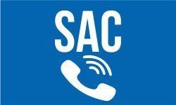 Banner escrito SAC com o desenho de um telefone tocando