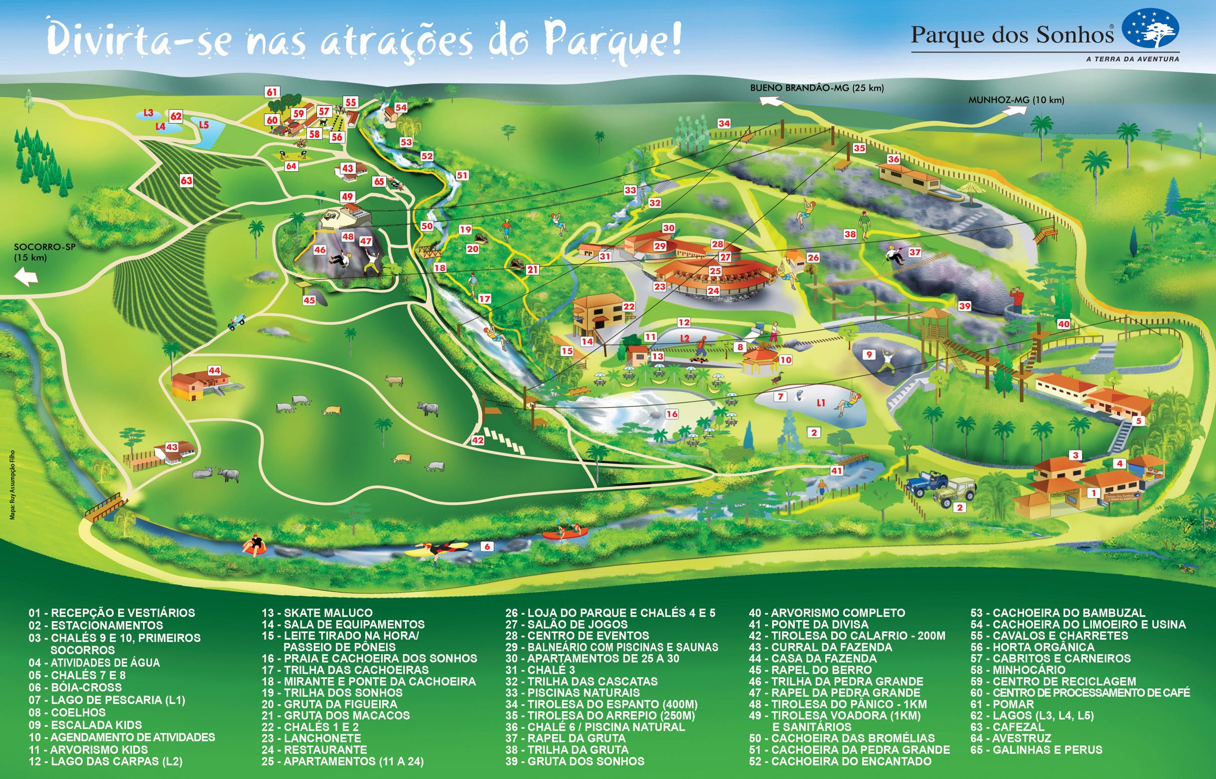 Mapa de toda a infraestrutura do parque dos sonhos, onde mostra todas as atividades e predios do hotel